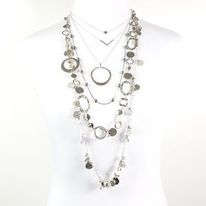 Necklace Capsule Silver Tone - 5 Necklaces